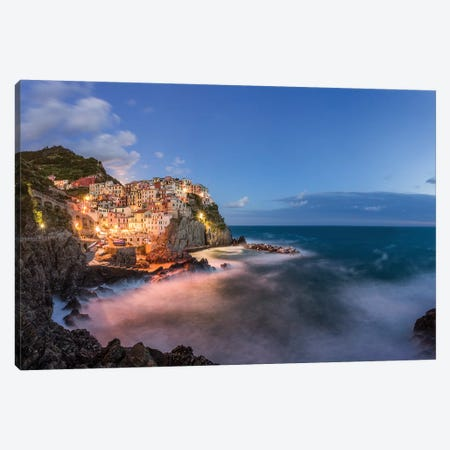 Italy, Cinque Terre, Manarola. Hilltop town and stormy ocean at sunset.  Canvas Print #JYG561} by Jaynes Gallery Canvas Wall Art