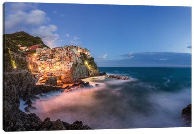 Italy, Cinque Terre, Manarola. Hilltop town and stormy ocean at sunset.  Canvas Art Print