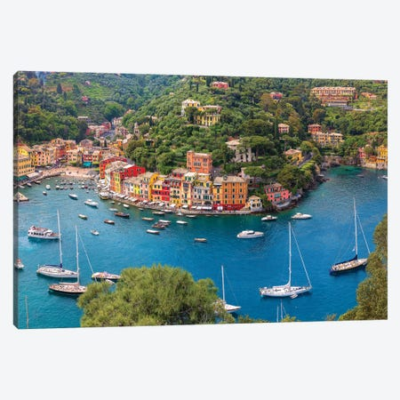 Italy, Liguria, Portofino. Aerial view of town and harbor.  Canvas Print #JYG563} by Jaynes Gallery Canvas Art