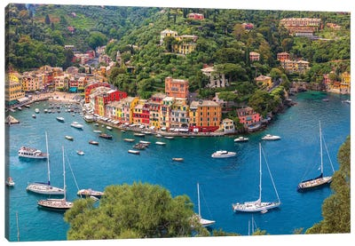 Italy, Liguria, Portofino. Aerial view of town and harbor.  Canvas Art Print