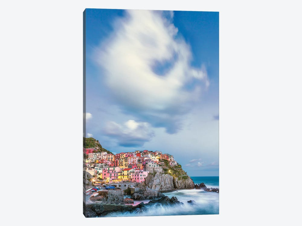 Italy, Manarola. Cloud over coastal town.  by Jaynes Gallery 1-piece Canvas Artwork