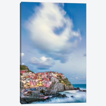 Italy, Manarola. Cloud over coastal town.  Canvas Print #JYG564} by Jaynes Gallery Art Print
