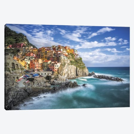 Italy, Manarola. Coastal town.  Canvas Print #JYG565} by Jaynes Gallery Canvas Art Print