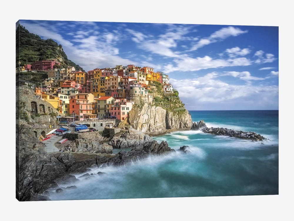 Italy, Manarola. Coastal town.  by Jaynes Gallery 1-piece Canvas Art Print