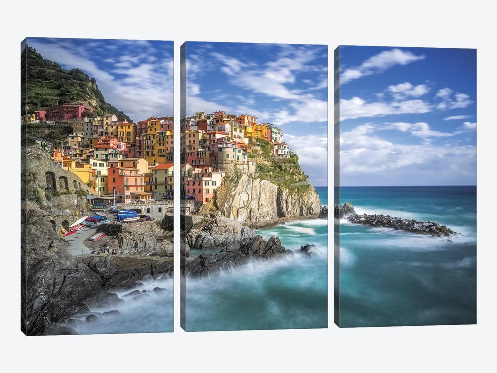 Italy, Manarola. Coastal town.  by Jaynes Gallery 3-piece Canvas Art Print