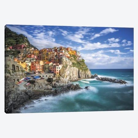 Italy, Manarola. Coastal town.  Canvas Print #JYG565} by Jaynes Gallery Canvas Art Print