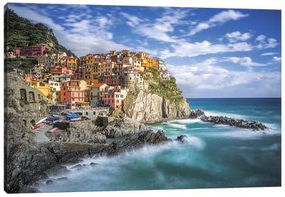 Italy, Manarola. Coastal town.  Canvas Art Print