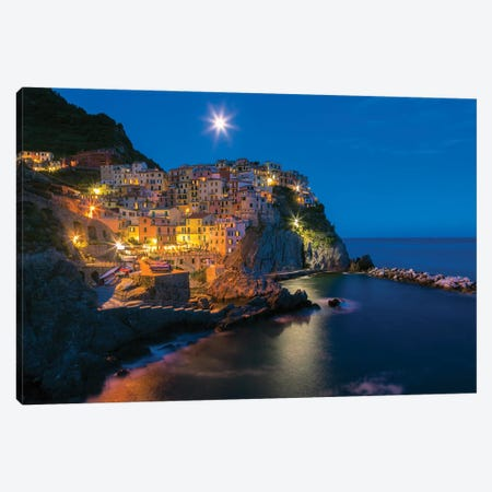 Italy, Manarola. Sunset on town.  Canvas Print #JYG566} by Jaynes Gallery Art Print