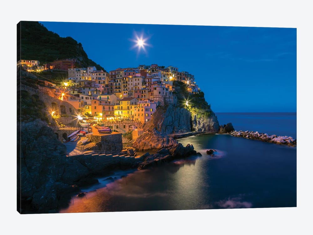 Italy, Manarola. Sunset on town.  by Jaynes Gallery 1-piece Canvas Wall Art