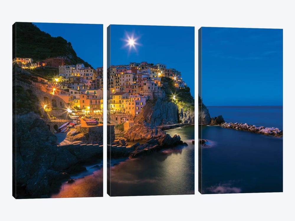 Italy, Manarola. Sunset on town.  by Jaynes Gallery 3-piece Canvas Artwork