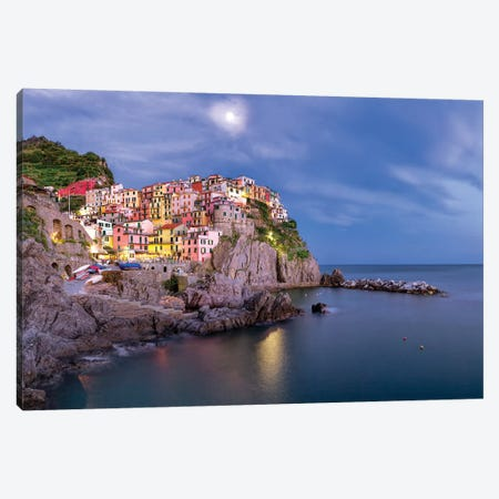 Italy, Manarola. Sunset on town.  Canvas Print #JYG567} by Jaynes Gallery Canvas Art Print