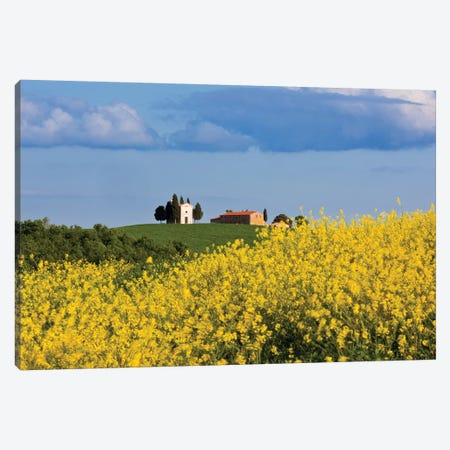 Italy, Tuscany, Val d'Orcia. Chapel of Vitaleta and farmhouse.  Canvas Print #JYG574} by Jaynes Gallery Canvas Wall Art