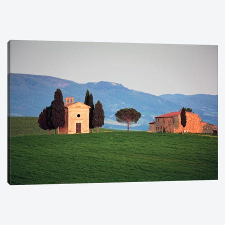 Italy, Tuscany, Val d'Orcia. Chapel of Vitaleta and house.  Canvas Print #JYG575} by Jaynes Gallery Canvas Artwork