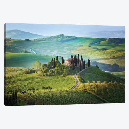 Italy, Tuscany, Val d'Orcia. Landscape with Podere Belvedere house.  Canvas Print #JYG577} by Jaynes Gallery Canvas Art