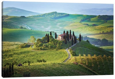 Italy, Tuscany, Val d'Orcia. Landscape with Podere Belvedere house.  Canvas Art Print