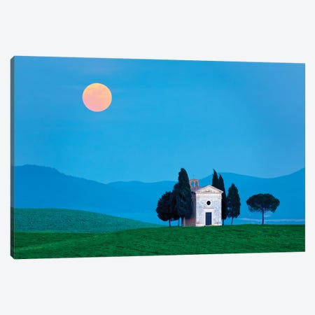 Italy, Tuscany, Val d'Orcia. Moonrise over Chapel of Vitaleta.  Canvas Print #JYG578} by Jaynes Gallery Canvas Print
