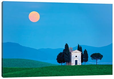 Italy, Tuscany, Val d'Orcia. Moonrise over Chapel of Vitaleta.  Canvas Art Print