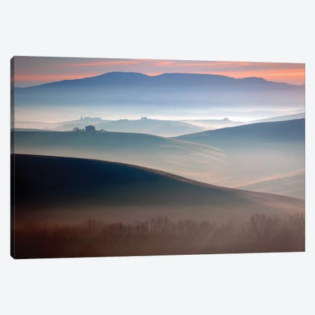 Italy, Val d' Orcia. Il Belvedere farmhouse at sunrise.  Canvas Print #JYG580} by Jaynes Gallery Canvas Art