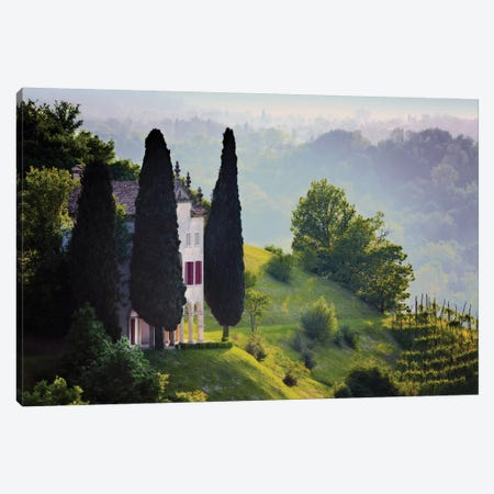 Italy, Veneto, Asolo. Country house and cypress trees.  Canvas Print #JYG582} by Jaynes Gallery Canvas Artwork