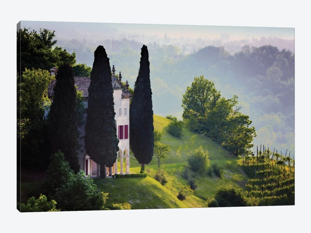 Italy, Veneto, Asolo. Country house and cypress trees.  by Jaynes Gallery 1-piece Canvas Artwork