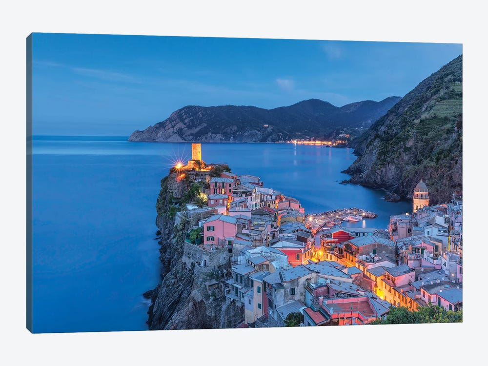 Italy, Vernazza. Sunset on town.  by Jaynes Gallery 1-piece Canvas Print