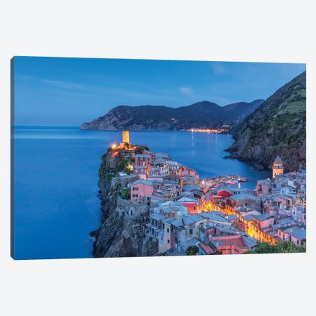 Italy, Vernazza. Sunset on town.  Canvas Print #JYG583} by Jaynes Gallery Canvas Art