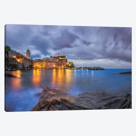Italy, Vernazza. Sunset on town.  Canvas Print #JYG584} by Jaynes Gallery Art Print