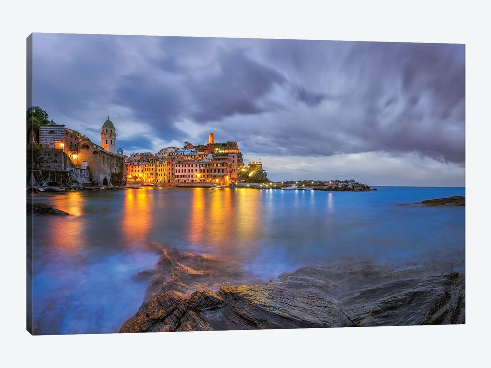 Italy, Vernazza. Sunset on town.  1-piece Canvas Artwork