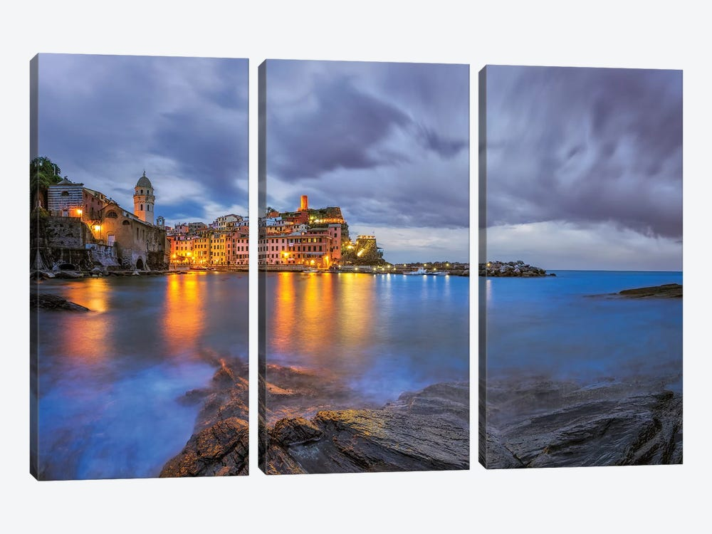 Italy, Vernazza. Sunset on town.  by Jaynes Gallery 3-piece Canvas Wall Art