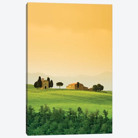 Italy, Tuscany. Landscape with church and villa. Canvas Print #JYG58} by Jaynes Gallery Canvas Art Print