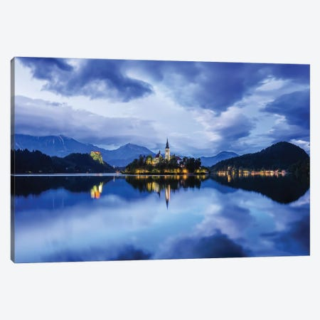 Slovenia. Lake Bled at sunset.  Canvas Print #JYG595} by Jaynes Gallery Canvas Art
