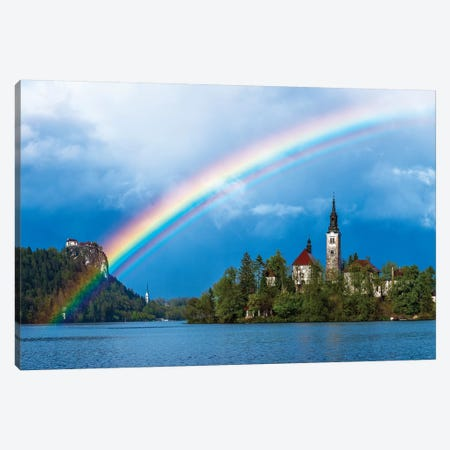 Slovenia. Rainbow over Lake Bled at sunset.  Canvas Print #JYG596} by Jaynes Gallery Canvas Artwork