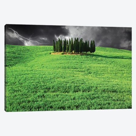 Italy, Tuscany. Lightning behind cypress trees on hill Canvas Print #JYG60} by Jaynes Gallery Canvas Wall Art