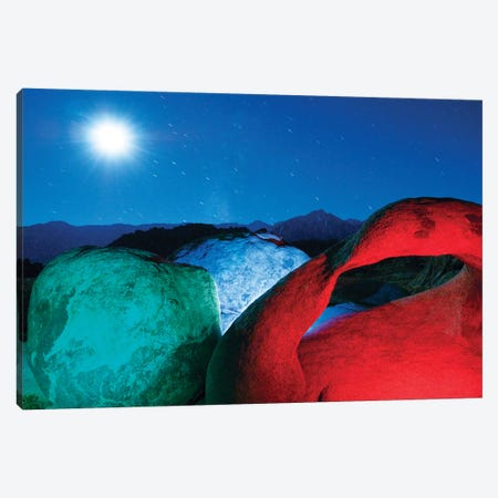 USA, California, Alabama Hills. Mobius Arch and rocks lit with colors on moonlit night. Canvas Print #JYG627} by Jaynes Gallery Canvas Artwork
