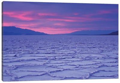 USA, California, Death Valley National Park. Salt flats at sunset. Canvas Art Print