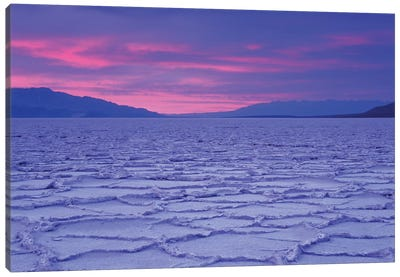 USA, California, Death Valley National Park. Salt flats at sunset. Canvas Art Print