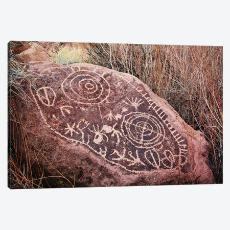 USA, California, Owens Valley. Petroglyphs covering boulder. Canvas Print #JYG632} by Jaynes Gallery Canvas Art