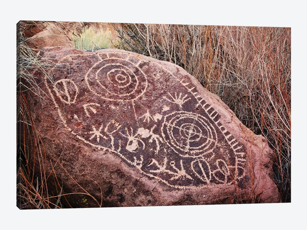 USA, California, Owens Valley. Petroglyphs covering boulder. by Jaynes Gallery 1-piece Canvas Art Print