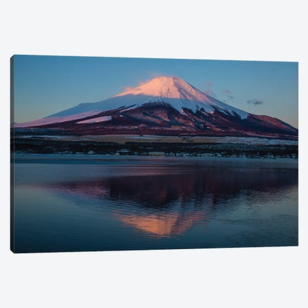 Japan, Honshu Island. Mt. Fuji and lake at sunrise. Canvas Print #JYG63} by Jaynes Gallery Canvas Artwork