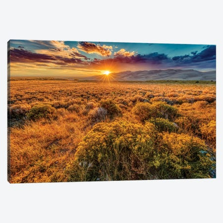 USA, Colorado, Great Sand Dunes National Park and Preserve. Sunset over dunes and plain. Canvas Print #JYG646} by Jaynes Gallery Canvas Wall Art