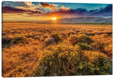 USA, Colorado, Great Sand Dunes National Park and Preserve. Sunset over dunes and plain. Canvas Art Print