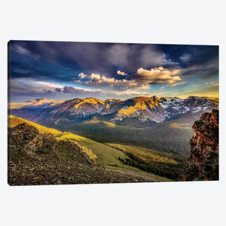 USA, Colorado, Rocky Mountain National Park. Mountain and valley landscape at sunset. Canvas Print #JYG649} by Jaynes Gallery Art Print