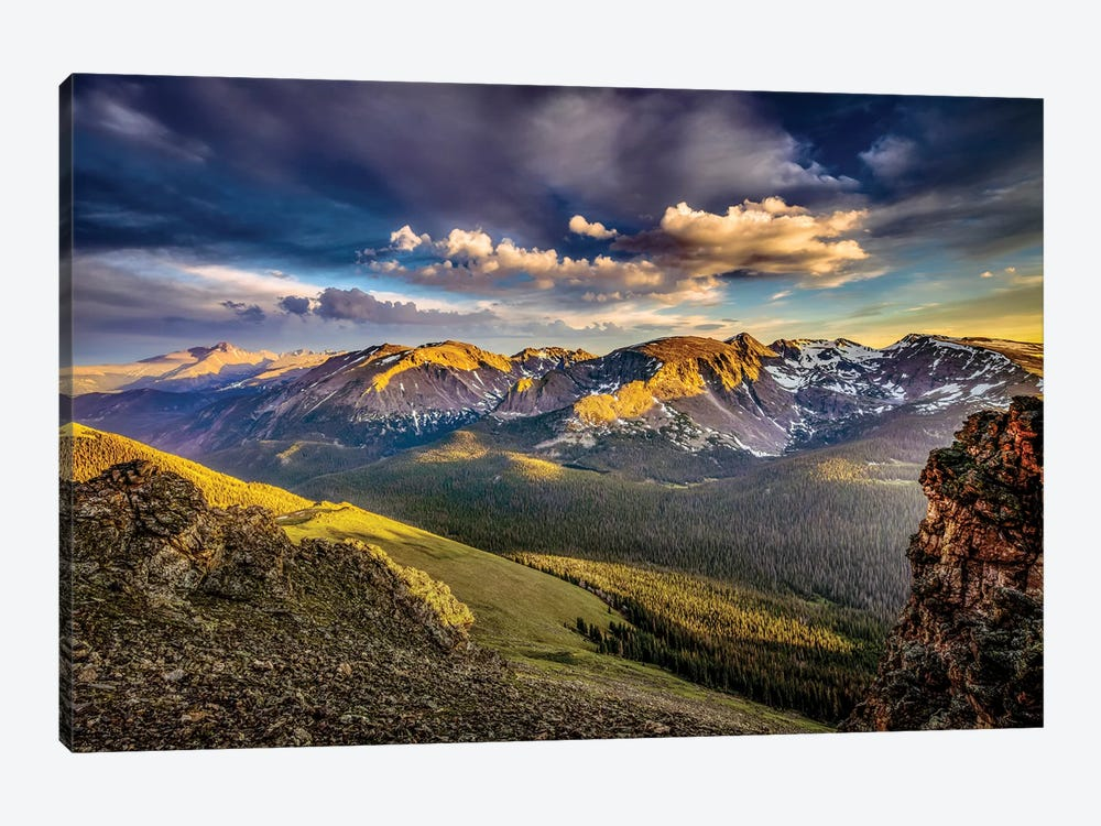 USA, Colorado, Rocky Mountain National Park. Mountain and valley landscape at sunset. by Jaynes Gallery 1-piece Art Print