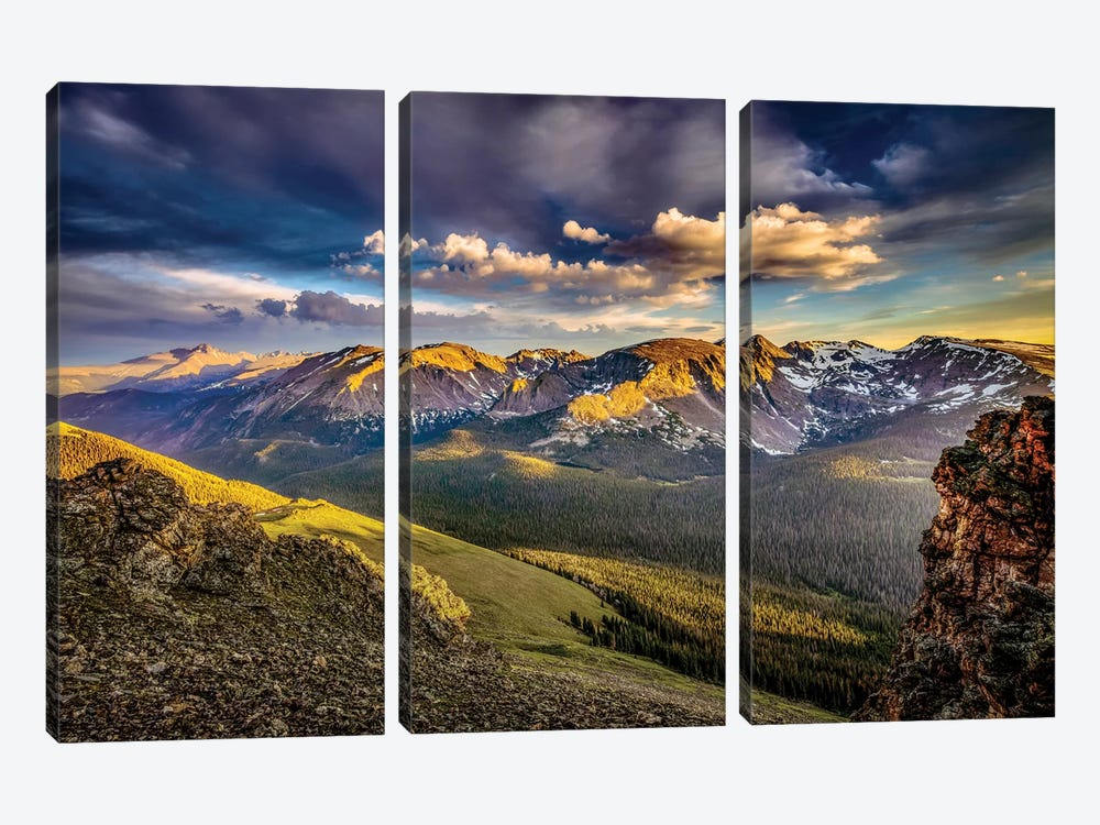 USA, Colorado, Rocky Mountain National Park. Mountain and valley landscape at sunset. by Jaynes Gallery 3-piece Art Print