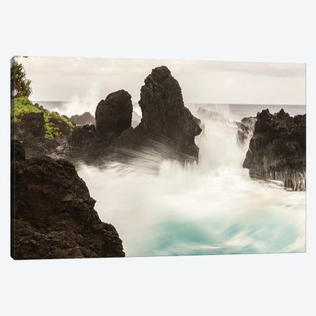 USA, Hawaii, Laupahoehoe Beach Point State Park. Crashing waves on shore rocks. Canvas Print #JYG663} by Jaynes Gallery Canvas Art Print