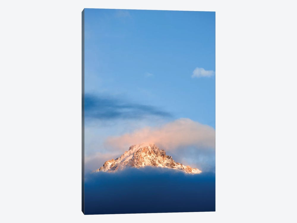 USA, Idaho, Sawtooth Range. Sunlit mountain and clouds. by Jaynes Gallery 1-piece Canvas Art Print