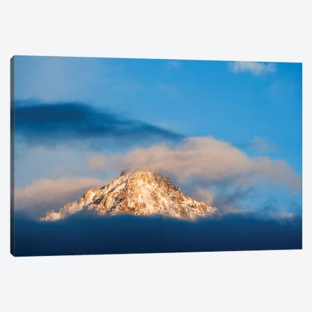 USA, Idaho, Sawtooth Range. Sunlit mountain and clouds. Canvas Print #JYG670} by Jaynes Gallery Canvas Artwork