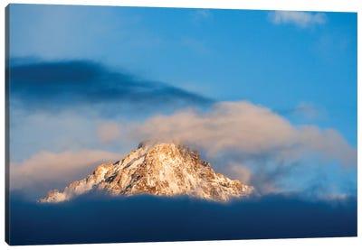 USA, Idaho, Sawtooth Range. Sunlit mountain and clouds. Canvas Art Print