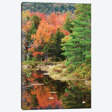 USA, New Hampshire, White Mountains. Autumn lake reflections. Canvas Print #JYG722} by Jaynes Gallery Canvas Artwork