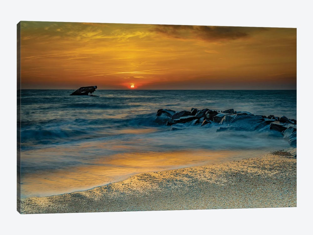 USA, New Jersey, Cape May National Seashore. Sunrise on ocean shore.  by Jaynes Gallery 1-piece Canvas Artwork